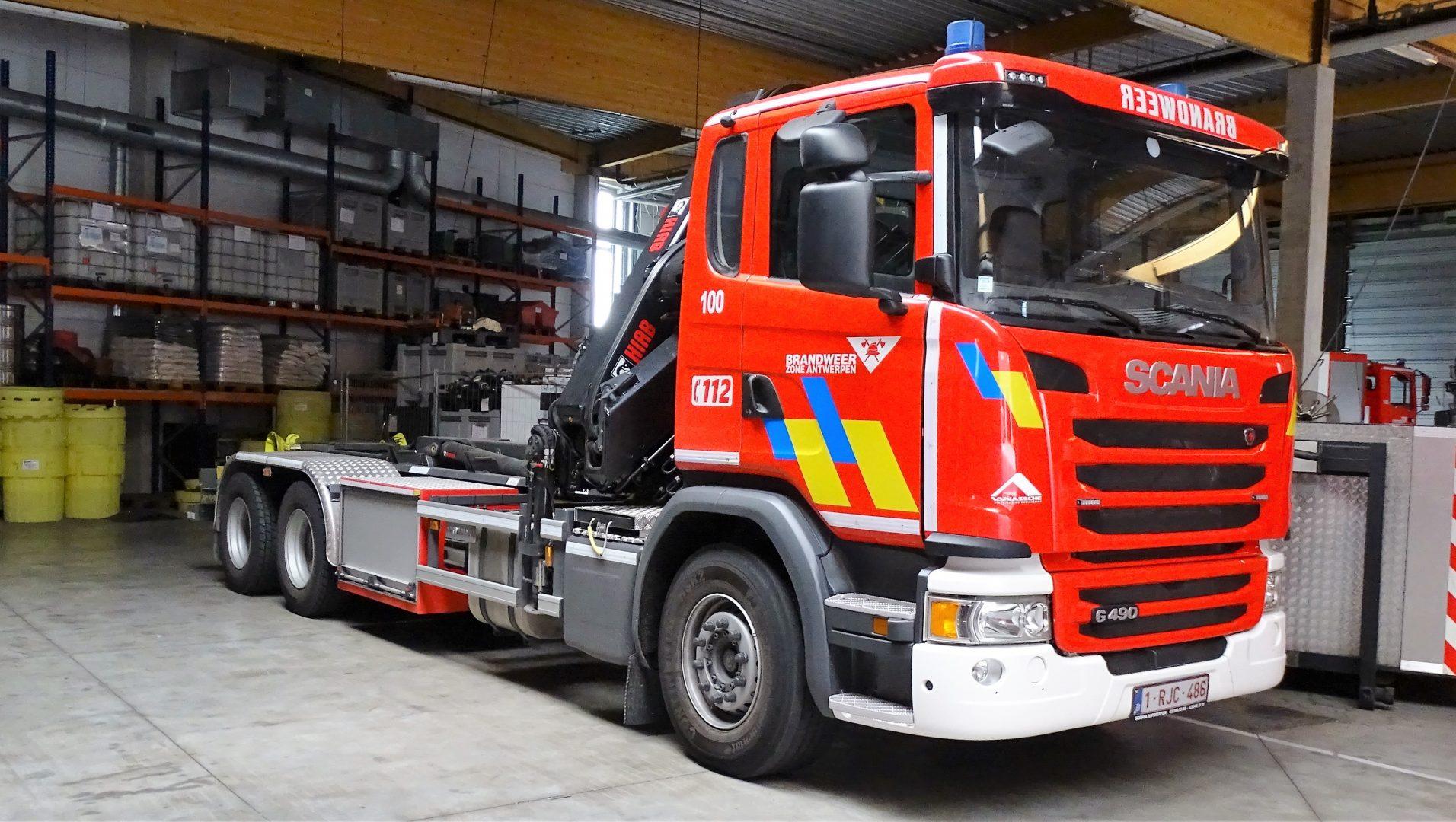 Haakarm Scania G490 LB 6x4 HNA Leebur Multilift / Vanassche (Met kraan)