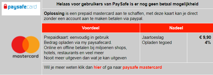 Betalen met paysafe via mastercard